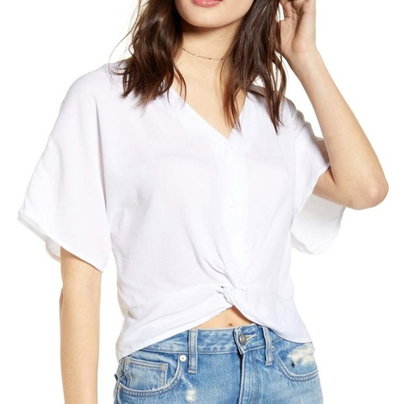 Leith Tops - Leith Twist Front Top sz Small in White